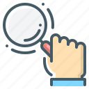 hand, loupe, magnifier, magnifying, magnifying glass, search icon