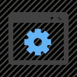 analytics, browser, gear, interface, settings, web, window icon