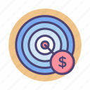 aim, click, pay, per, ppc, target icon