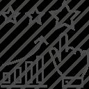 analytics, bar, chart, graph, management, reputation, star