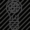 bulb, earth, global, globe, idea, solution