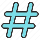 hashtag, keyword, seo, social, trend icon
