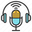 air, broadcasting, mic, microphone, on, podcasting icon