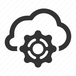 cloud, cloud service, gear, optimization, settings, sharing, tool icon