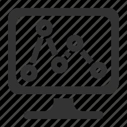 line graph, monitor, monitoring, screen icon