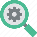 digital marketing, find, gear, magnifier, magnify, search, setup icon icon