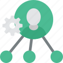 cog, company, gear, human, office, person, resources, settings, team, user, work icon icon
