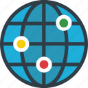 global coverage, global network, globe, map, planet icon icon