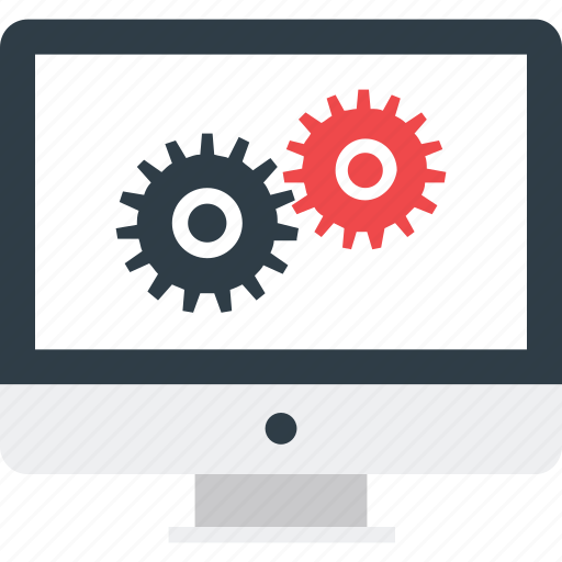 cog, gear, monitor, monitor setting, seo services icon icon