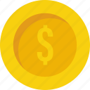 cash, coin, currency, dollar coin, money icon icon