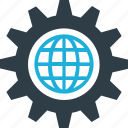 gear, globe, globe gear, world in gear icon icon