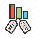 bars, internet, lines, marketing, optimization, seo, tags icon