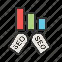 bars, internet, lines, marketing, optimization, seo, tags icon