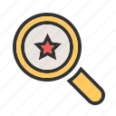 analytics, award, glass, magnifier, rank, search, star icon