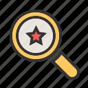 analytics, award, glass, magnifier, rank, search, star icon