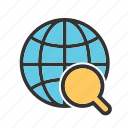 glass, globe, internet, magnifier, magnifying, world, world map