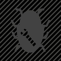 alert, analysis, analyzing, antivirus, bug, magnifying glass icon