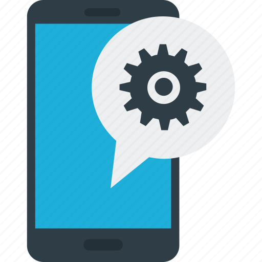 app development, mobile app, mobile configure, mobile settings, mobile with cog icon icon