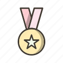 award, gold medal, star medal