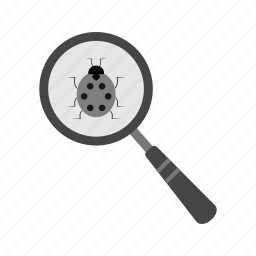 alert, analysis, analyzing, antivirus, bug, magnifying glass, search icon