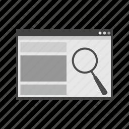 analysis, analytics, browser, optimization, search, searching, web icon