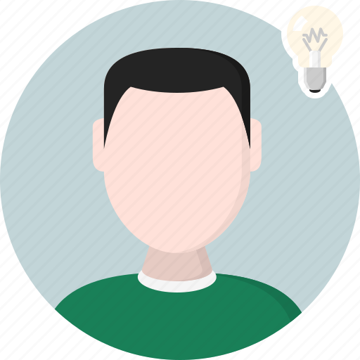 bulb, idea, lamp, man, men, person icon