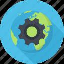 earth, network, optimization, planet, settings icon