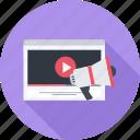 marketing, megaphone, site, video