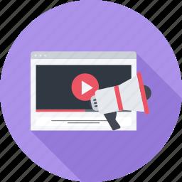 marketing, megaphone, site, video icon