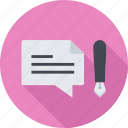 blogging, comment, comments, pen icon