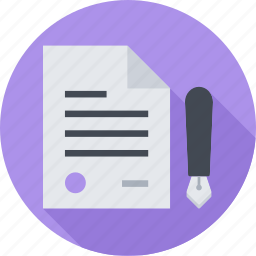 contract, document, file, pen icon