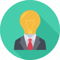 idea, lightbulb, suit, think icon