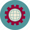 cogwheel, development, globe, seo, web, web site icon