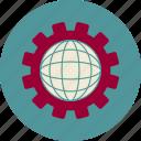 cogwheel, development, globe, seo, web, web site