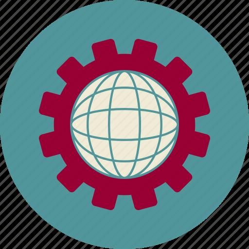 cogwheel, development, globe, seo, web, web site icon