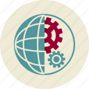cogwheel, globe, optimization, planet, seo, web icon