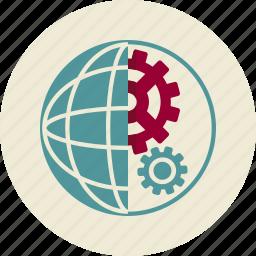 cogwheel, globe, optimization, planet, seo, web icon