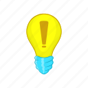 bulb, cartoon, concept, energy, idea, light, sign icon