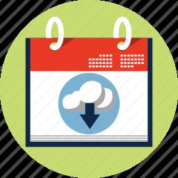 calendar, cloud, computing, data, down, schedule icon