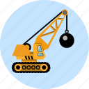 ball, building, business, construction, crane, machine, wrecking icon