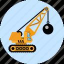 ball, building, business, construction, crane, machine, wrecking icon