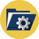 document, file, folder, gear, options, preferences, settings icon