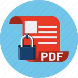 documents, file, format, lock, page, pdf, security icon