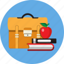 apple, book, education, learn, schoolbag, student, study
