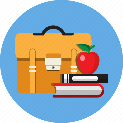 apple, book, education, learn, schoolbag, student, study icon