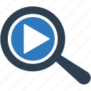 magnifying glass, online video search, search, search video, zoom icon