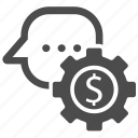 business, dollar, gear, income, message settings icon