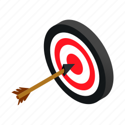 arrow, center, competition, dart, game, isometric, success icon