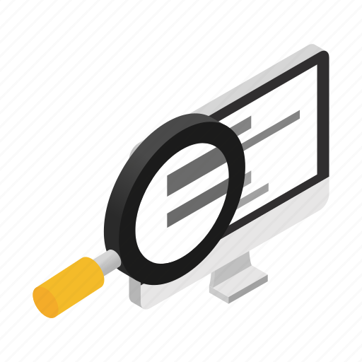 glass, internet, isometric, monitor, screen, search, technology icon