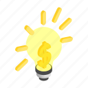 dollar, electric, electricity, energy, idea, inspiration, isometric icon